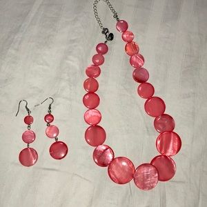 Charming Charlie Coral Necklace & Earrings
